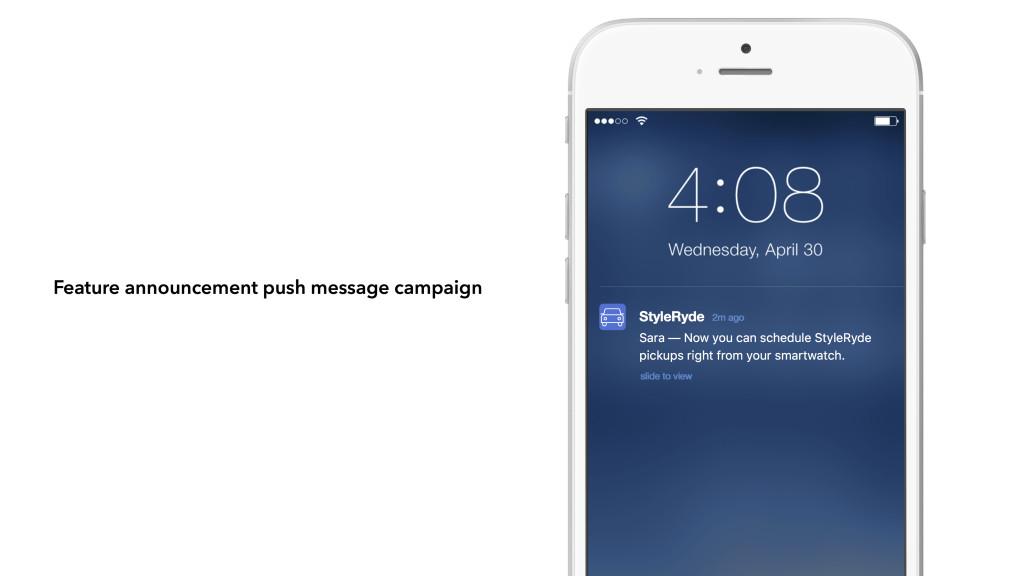 Feature announcement push message
