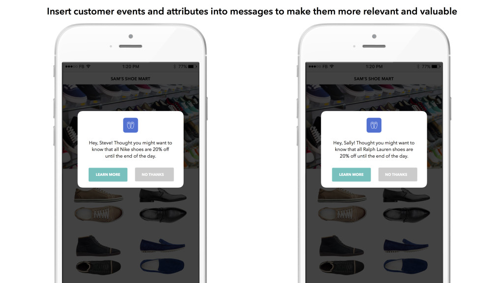 Inserting customer attributes and events into messages