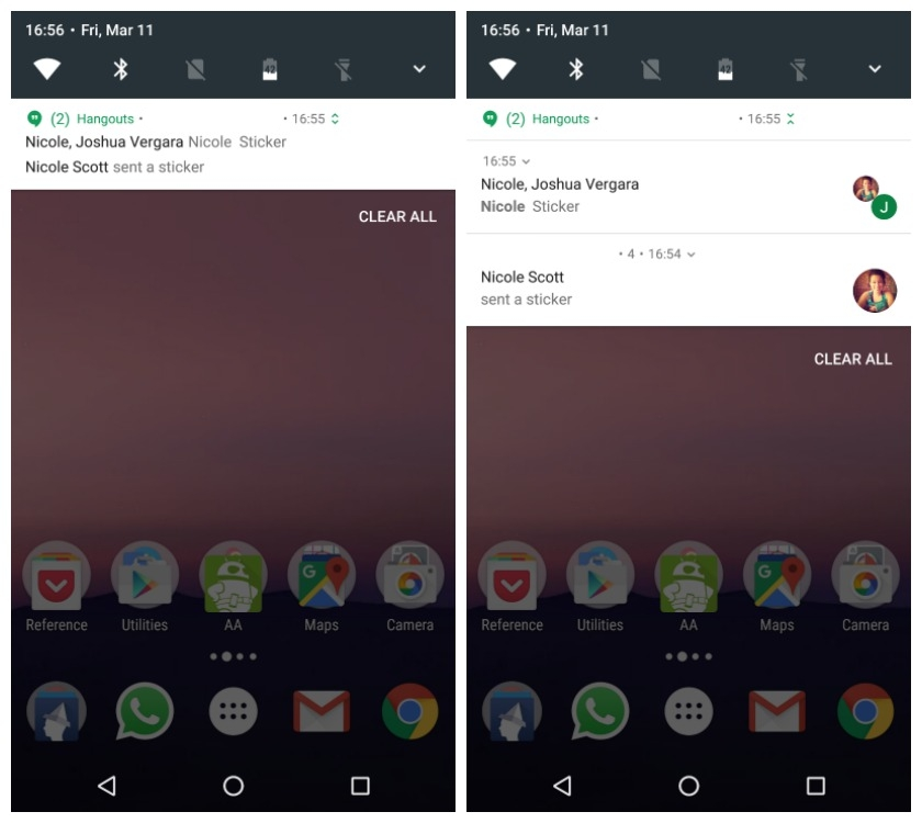 Android N's grouped notifications feature