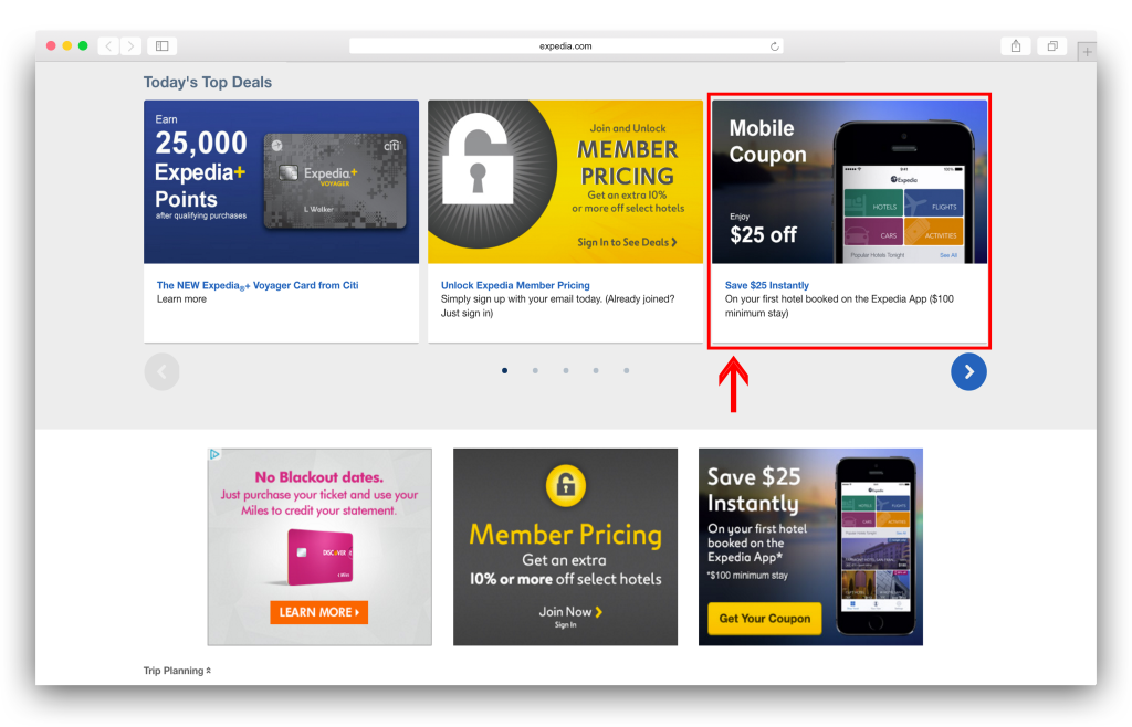 Expedia mobile bookings