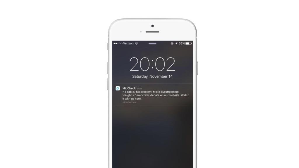 MicCheck push notification