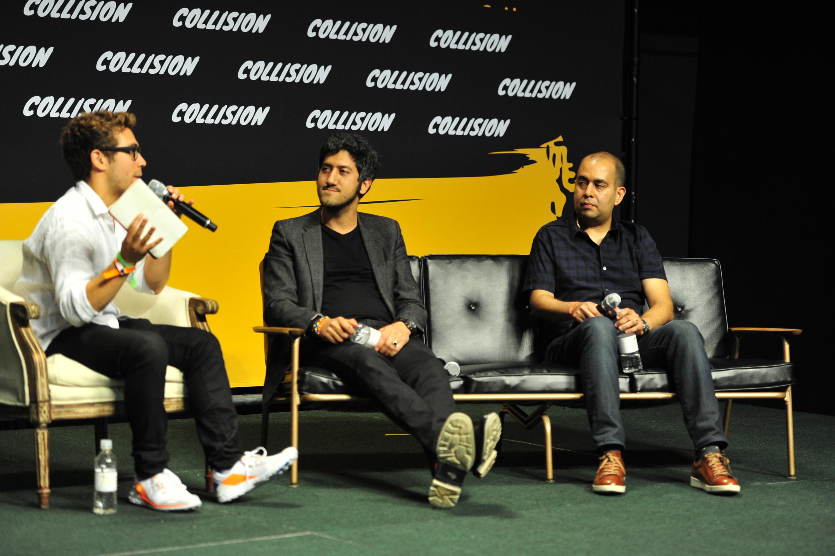 (l–r:) Joe Lazauskas, Contently; Adam Singolda, Taboola; and Rahul Chopra, Storyful
