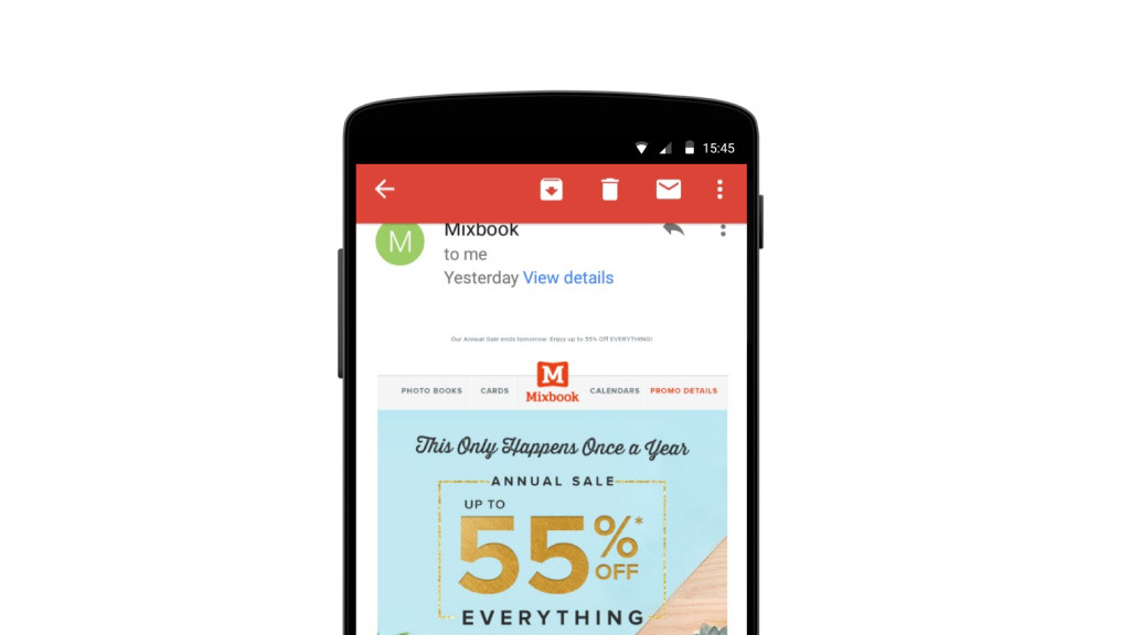 Mixbook mobile email