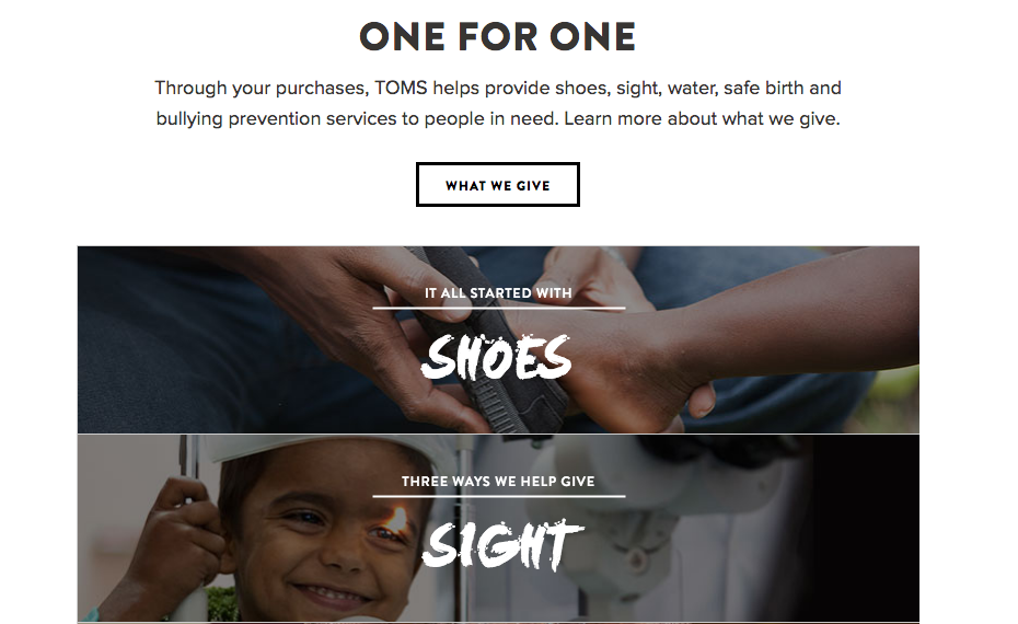 TOMS Shoes Website Screenshot