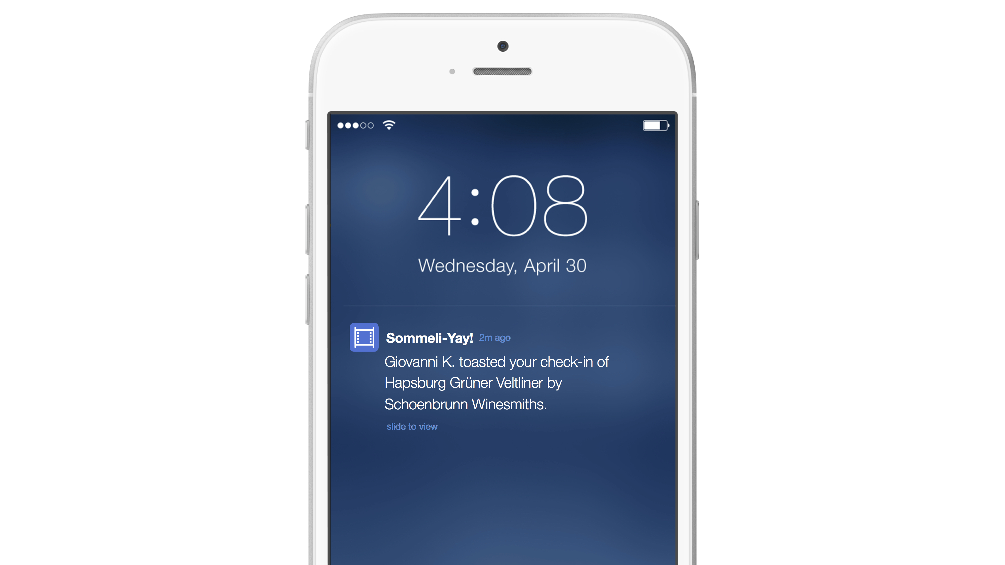Activity messaging toasting push notification