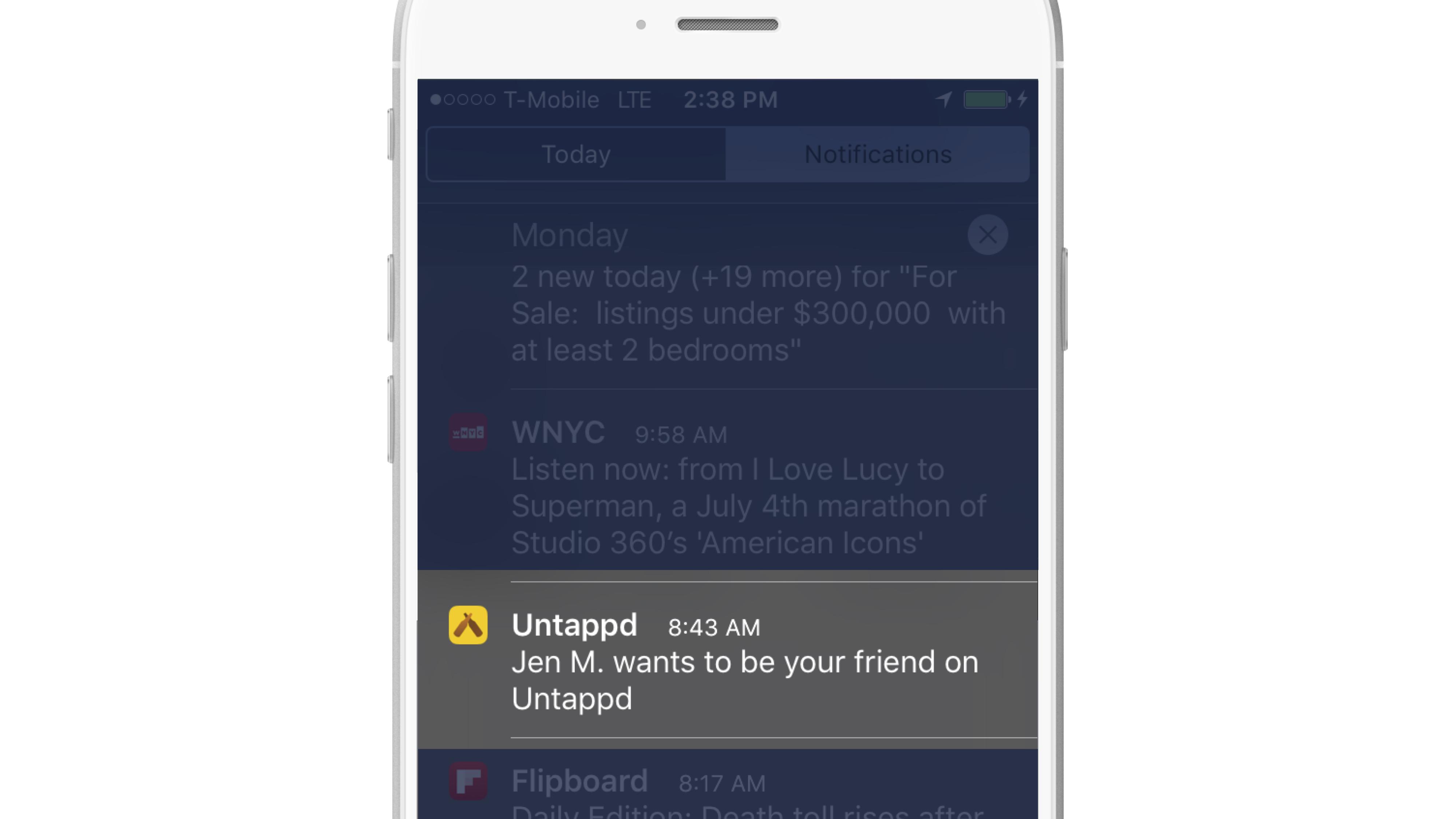 Activity Messaging friend request push notification