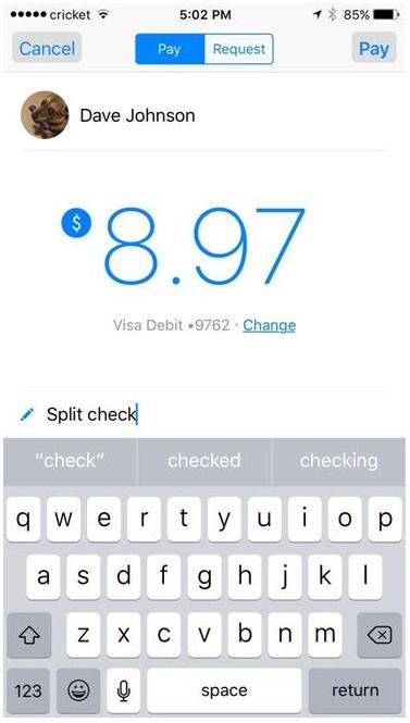 Facebook Messenger pay screenshot by Rick Broida/CNET