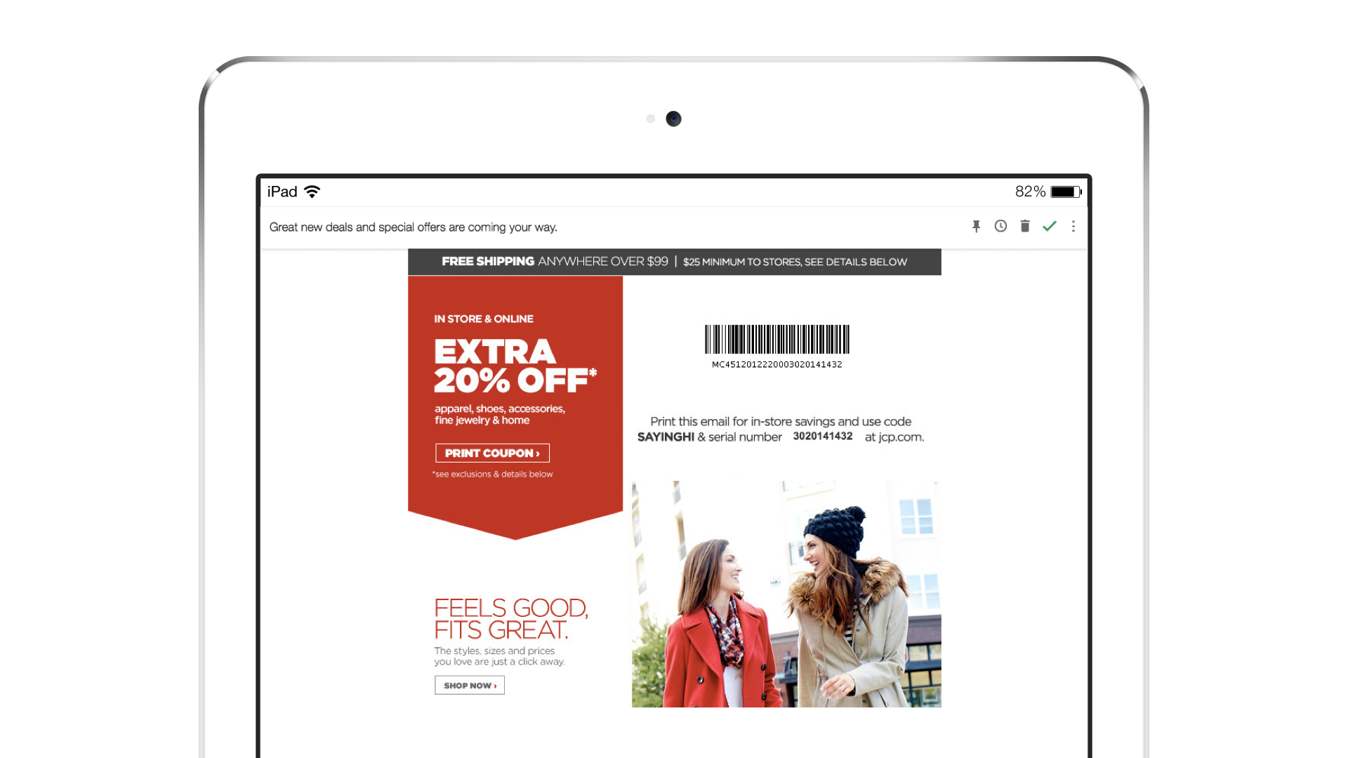 J.C. Penney welcome message