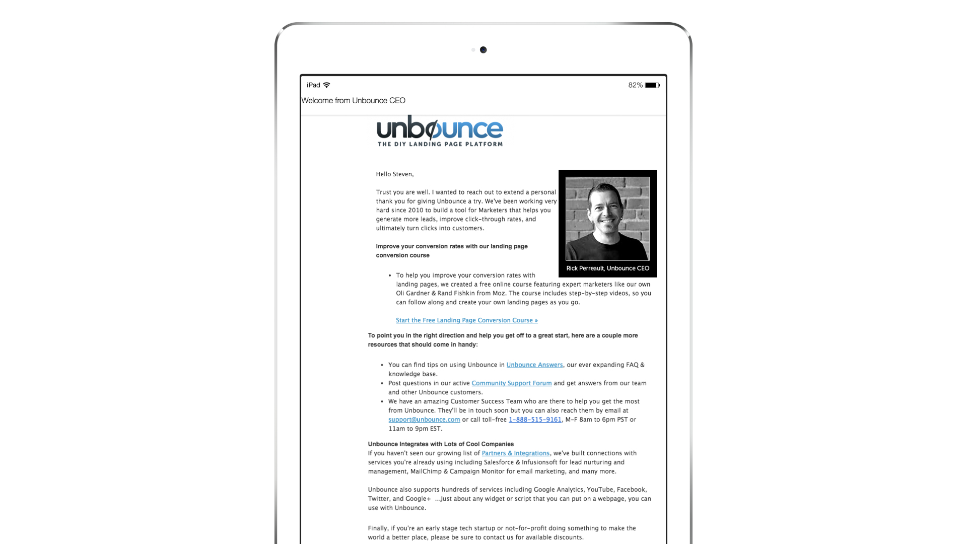 Unbounce welcome message