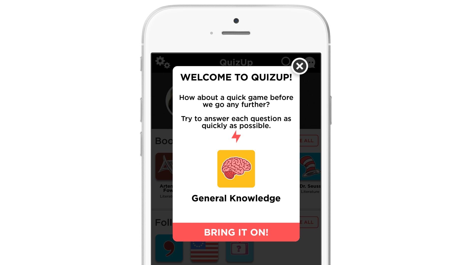 Quizup welcome message