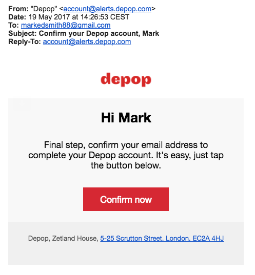 depot deploys a double opt-in for email