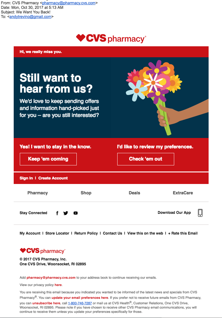 email as a part of a winback campaign from CVS